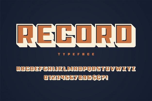 Enregistrer la conception des polices d'affichage, alphabet, police de caractères, majuscules Vecteur Premium