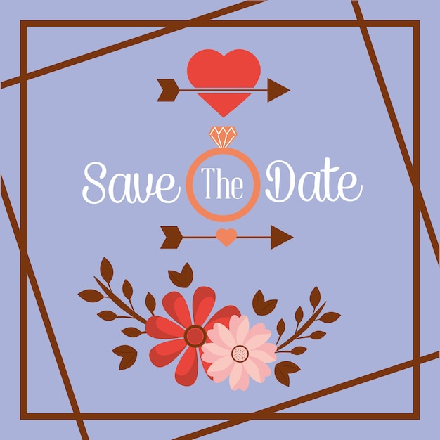 Enregistrer la date fleur bague flèche carte romantique Vecteur Premium