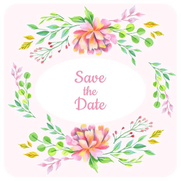 Enregistrer le fond floral de date Vecteur Premium
