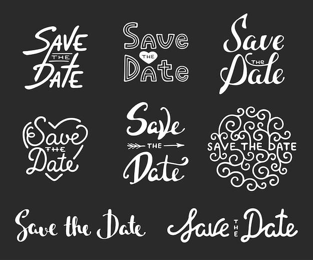 Enregistrer les inscriptions de calligraphie de date Vecteur Premium