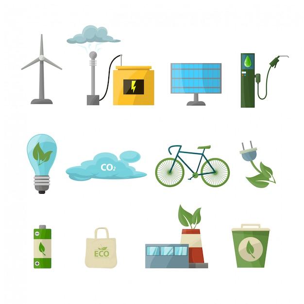 Enregistrer le jeu d'icônes d'énergie Vecteur Premium