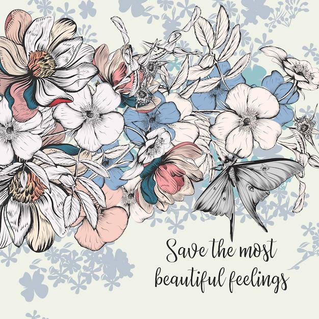 Enregistrez la carte de date en modèle vintage avec des fleurs roses Vecteur gratuit