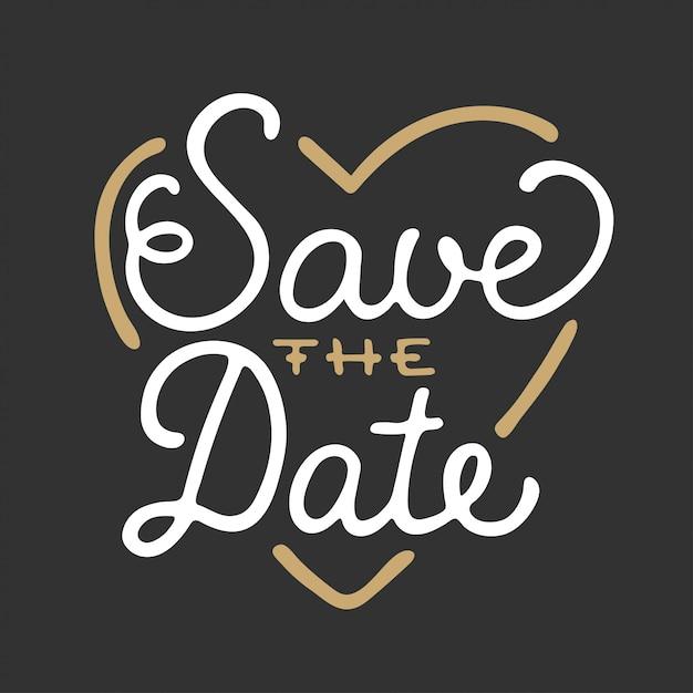 Enregistrez la date dans le modèle de carte d'invitation en forme de cœur Vecteur Premium