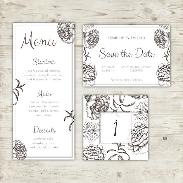 Enregistrez le menu du mariage et la conception du numéro de table Vecteur gratuit
