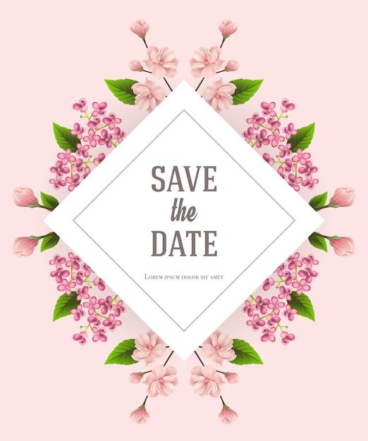 Enregistrez le modèle de date avec des fleurs de cerisier et de lilas sur fond rose. Vecteur gratuit