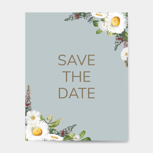 Enregistrez le vecteur de carte maquette invitation de mariage date Vecteur gratuit