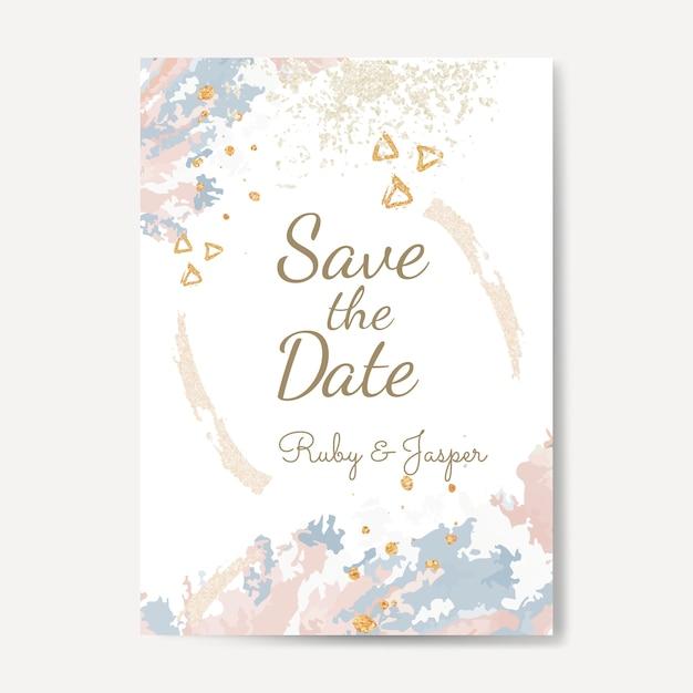 Enregistrez le vecteur d'invitation de mariage de date Vecteur gratuit