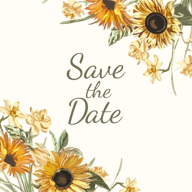 Enregistrez le vecteur de maquette d'invitation de date Vecteur gratuit