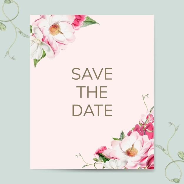 Enregistrez le vecteur de maquette invitation de mariage date Vecteur gratuit
