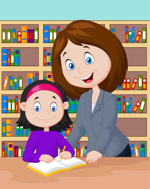 Enseignant aidant l'élève à étudier Vecteur Premium