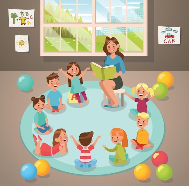 Enseignant en classe et activité des enfants à la maternelle Vecteur Premium