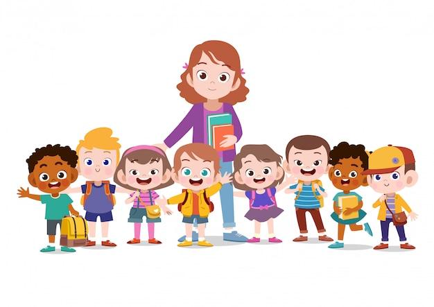 Enseignant avec l'école des enfants Vecteur Premium