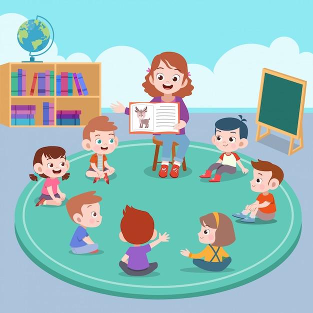 Enseignant et élève en classe Vecteur Premium