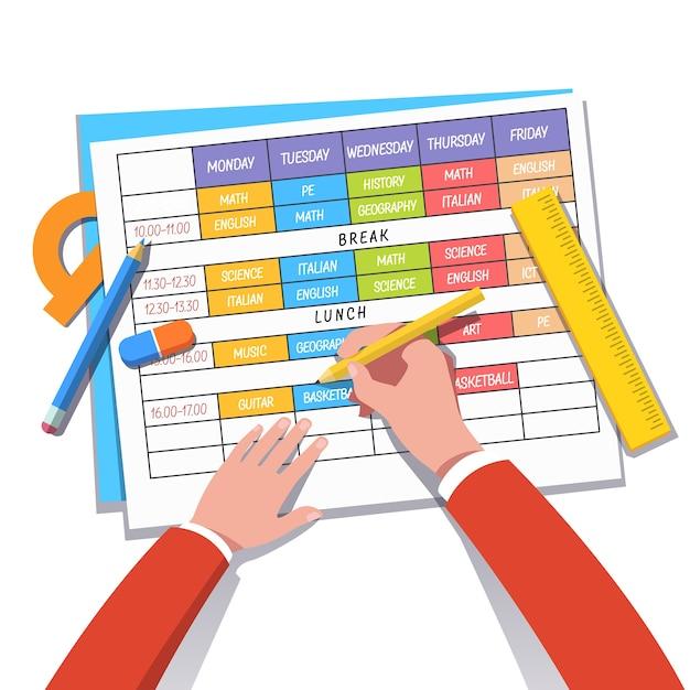 L'enseignant ou l'élève établit un horaire de cours Vecteur gratuit