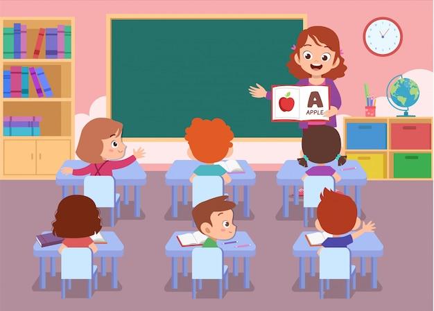 Enseignant Avec élève Isolé Vecteur Premium