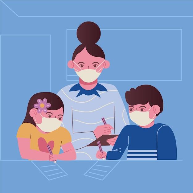 Enseignant Et étudiants Portant Un Masque Facial En Classe Vecteur Premium