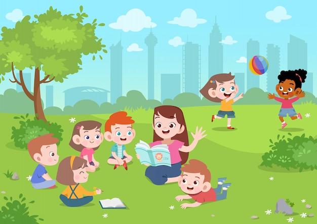 Enseignant lire l'histoire à l'illustration vectorielle élève Vecteur Premium