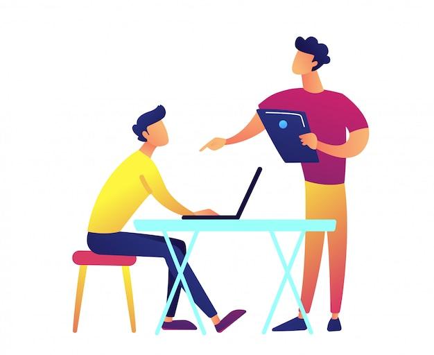 Enseignant Avec Ordinateur Portable Parlant Et étudiant Avec Ordinateur Portable à L'illustration Vectorielle De Bureau. Vecteur Premium