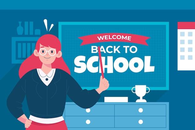 L'enseignant Souhaite La Bienvenue à L'école Vecteur gratuit