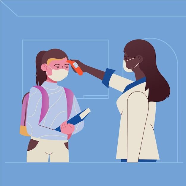 Enseignant Vérifiant La Température Des Enfants Vecteur Premium