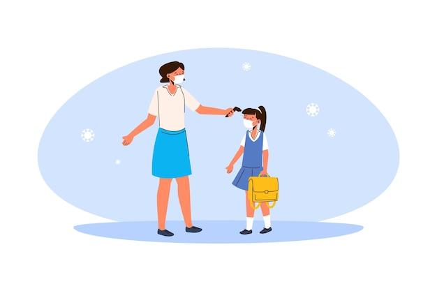 Enseignant Vérifiant La Température Des Enfants Vecteur gratuit