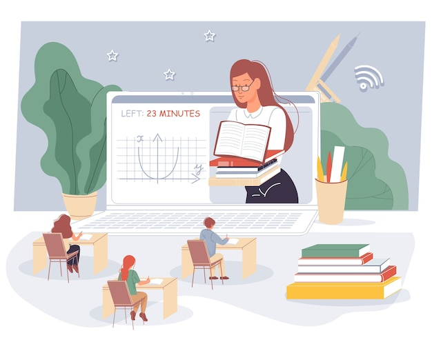 Enseignante, écoliers Qui étudient En Classe Virtuelle. Vecteur Premium