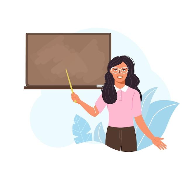 Enseignante Enseigner Au Tableau Noir En Classe. Vecteur Premium