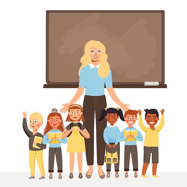 Enseignante Et Groupe D'enfants Se Tiennent Au Tableau Noir. Vecteur Premium