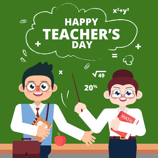 Les enseignants célèbrent la fête des chercheurs Vecteur Premium