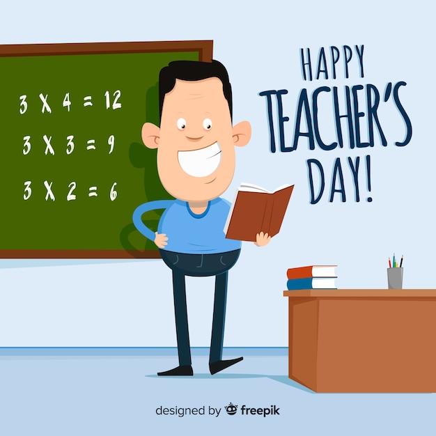 Les enseignants de la journée mondiale du concept de fond Vecteur gratuit