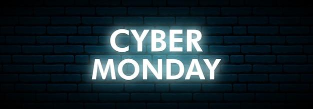 Enseigne au cyber lundi. Vecteur Premium