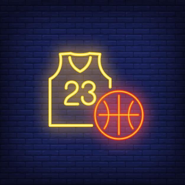 Enseigne au néon de basket et de maillot Vecteur gratuit