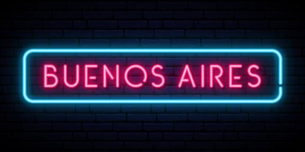 Enseigne Au Néon De Buenos Aires. Vecteur Premium