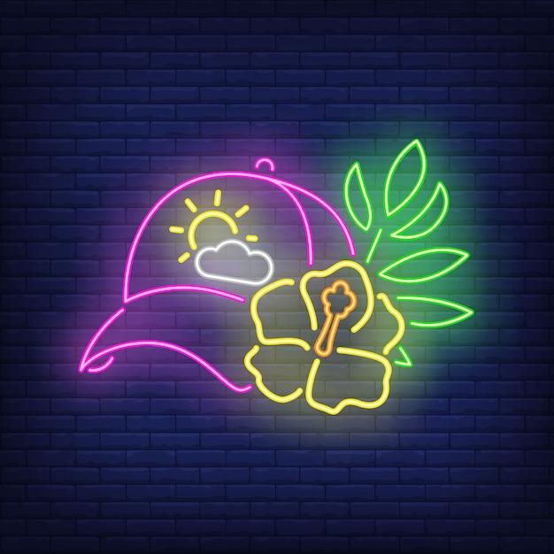 Enseigne au néon de chapeau et de fleurs. Vecteur gratuit