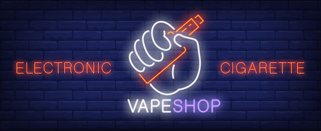 Enseigne au néon cigarette électronique. main tenant le dispositif de vaporisation. Vecteur gratuit