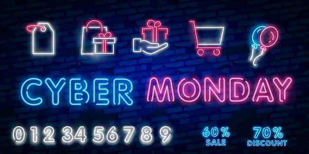 Enseigne Au Néon Cyber Lundi Vecteur Premium