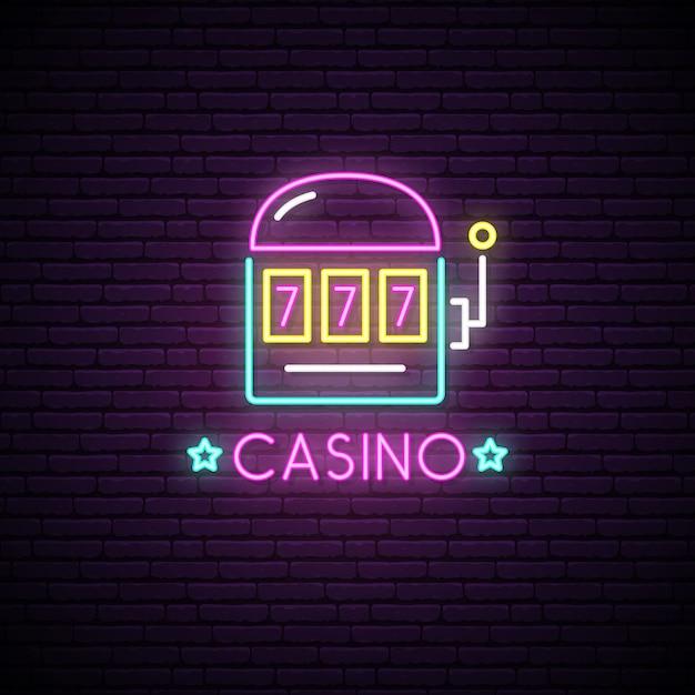 Enseigne au néon du casino. Vecteur Premium