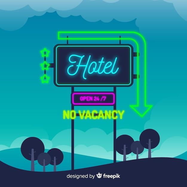 Enseigne au néon d'hôtel réaliste Vecteur gratuit