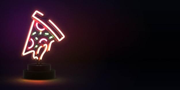 Enseigne Au Néon Isolé Réaliste Du Logo Pizza Avec Espace De Copie Pour Le Modèle D'invitation. Concept De Restaurant, Café, Pizzeria Et Cuisine Italienne. Vecteur Premium