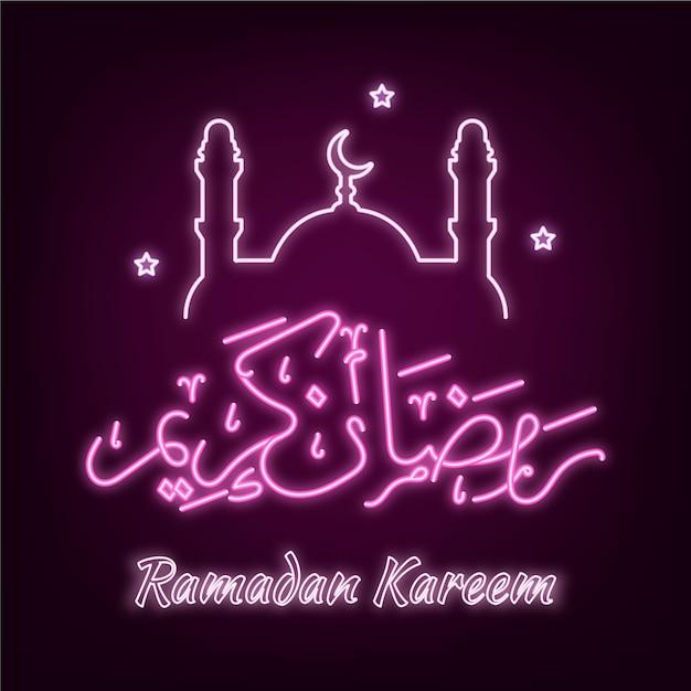 Enseigne Au Néon Lettrage Ramadan Vecteur gratuit