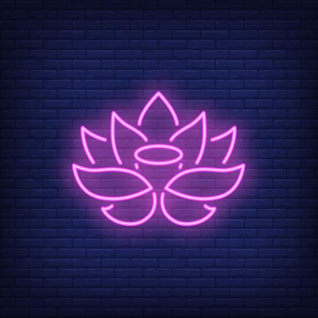 Enseigne au néon lotus rose Vecteur gratuit