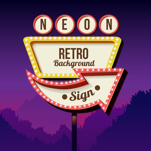 Enseigne au néon avec des lumières. panneau d'affichage rétro dans la ville pendant la nuit. endroit propre avec un cadre 3d. cadre vintage volumétrique. panneau routier panneau routier rouge des années 50. Vecteur Premium
