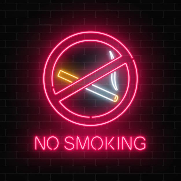Enseigne Au Néon Lumineux Ne Pas Fumer Sur Le Mur De Briques Sombres De La Discothèque Ou Du Bar. Vecteur Premium