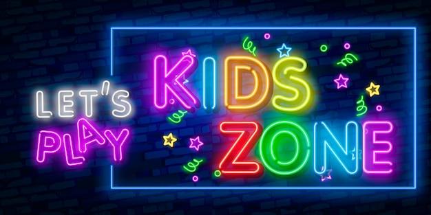 Enseigne au néon de modèle zone enfants, bannière lumineuse, enseigne au néon, publicité lumineuse nocturne, inscription lumineuse. Vecteur Premium