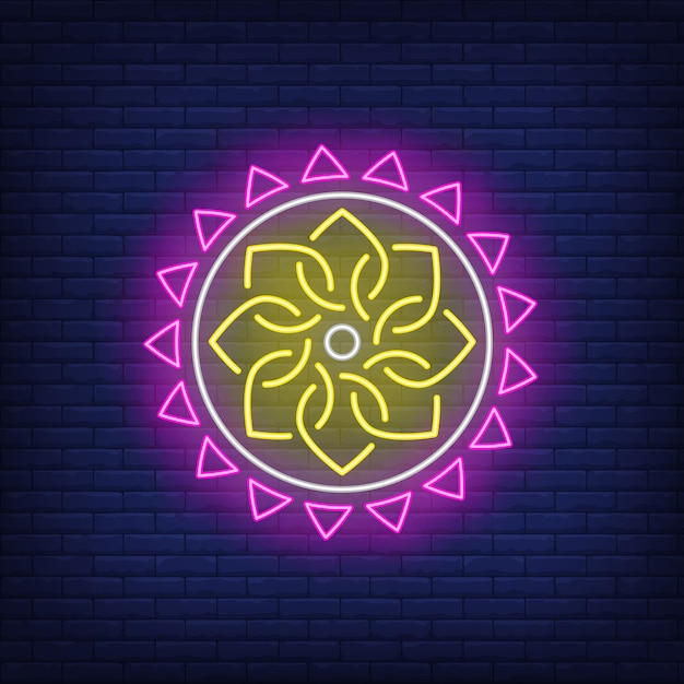 Enseigne au néon motif ethnique rond mandala Vecteur gratuit