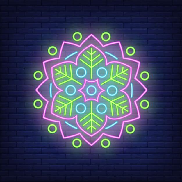 Enseigne au néon motif floral rond mandala Vecteur gratuit