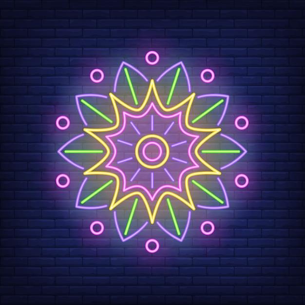 Enseigne au néon ornement rond mandala Vecteur gratuit