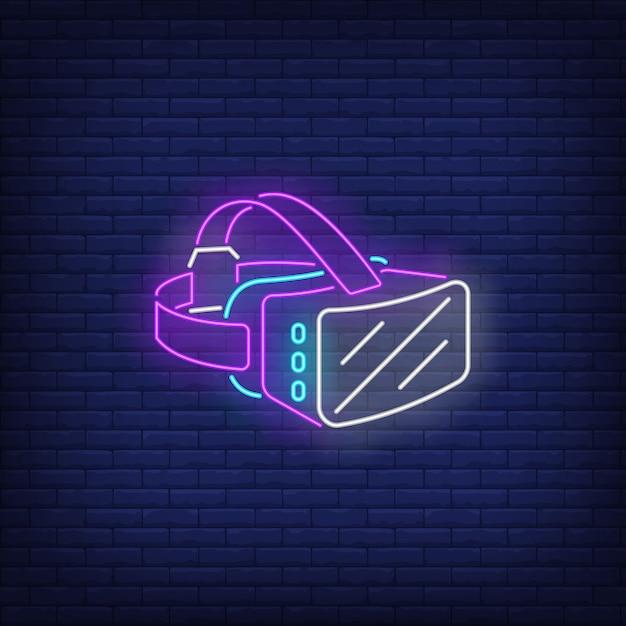 Enseigne au néon pour casque de réalité virtuelle Vecteur gratuit