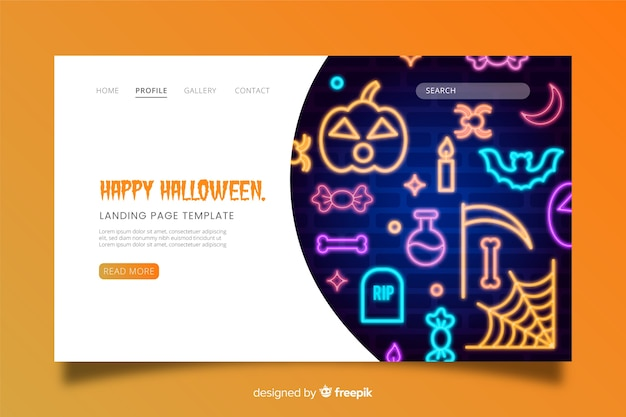 Enseigne au néon pour halloween Vecteur gratuit