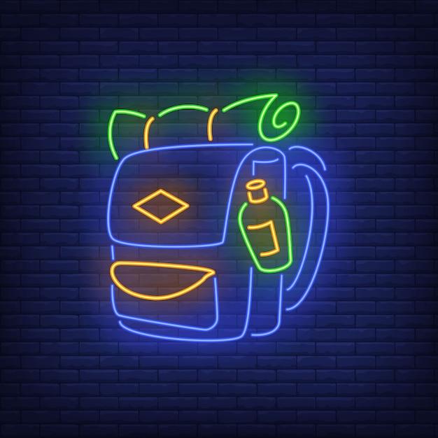 Enseigne au néon pour le sac à dos. Vecteur gratuit
